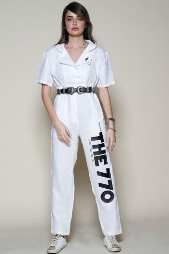 White Linen Short Sleeve Overall THE 770