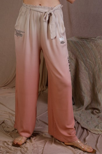 Designed Pink  Colors Wide Style Pants DRAMA