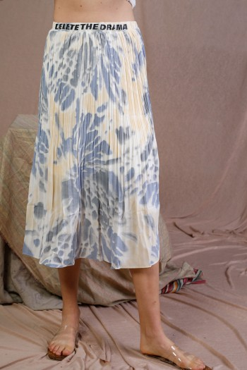 Light Blue Yellow And White Colors Midi Skirt DELETE