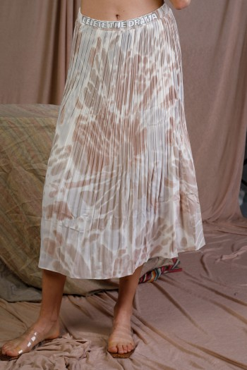 Light Pink Brown And White Colors Midi Skirt DELETE