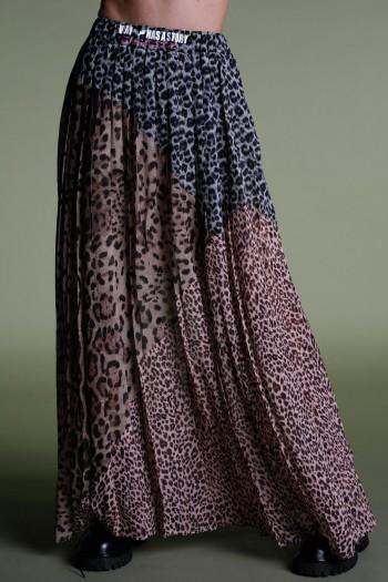 Leopard Chiffon  Maxi Skirt STORY