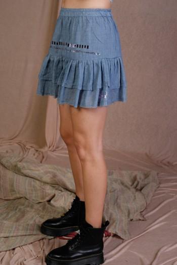 Blue Denim Color Fine Cotton Mini Skirt WARNING