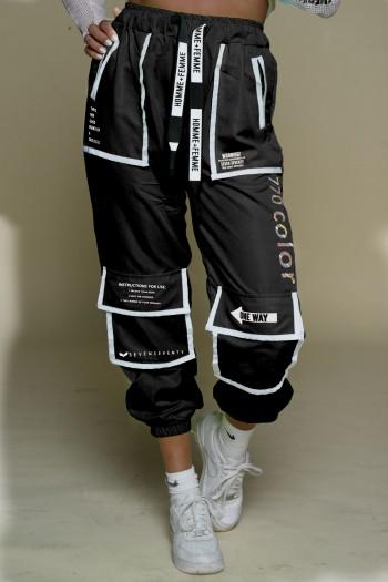 Black Nylon Jogger Pants COLOR