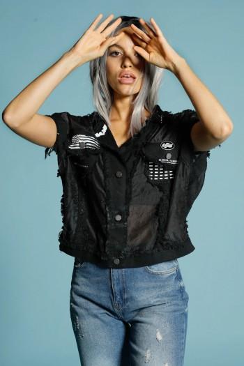 Bottoned Black Vest Top ORIGINAL