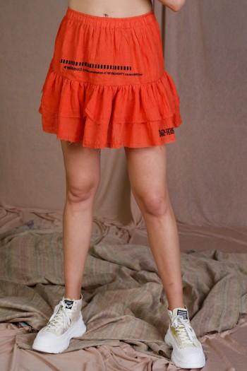 Orange Color Fine Cotton Mini Skirt WARNING