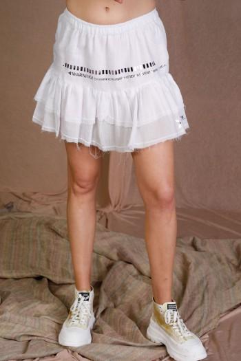 White Color Fine Cotton Mini Skirt WARNING