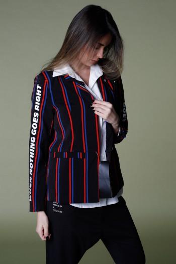 Black Long Sleeve Blazer Jacket With Stripes RIGHT