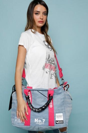 Designed Blue Denim Hand  Bag  LIMITED