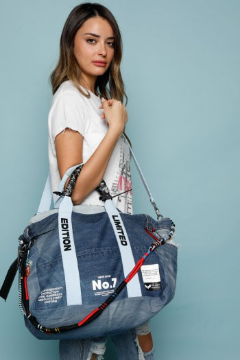 Designed Blue Denim Hand Bag LIMITED