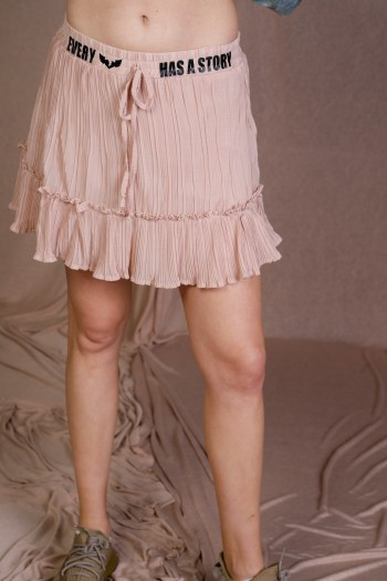 Pink Color Fine Fabric Mini Skirt STORY