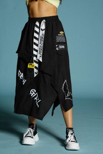 Black Layers Maxi Skirt HOME