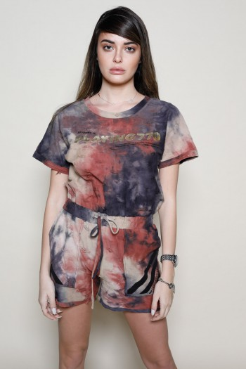 Brown Colors Tie Dye  Short Overall  PLAYING