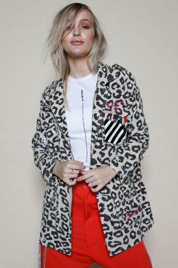 Beige And Black Leopard Jacket Top MASK