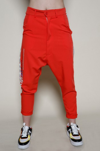 Designed Orange Red  Baggy Pants  ADDICTED