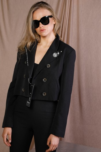 Black Designed Crop Jacket ADDICTED