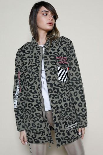 Olive Green And Black Leopard Jacket Top MASK