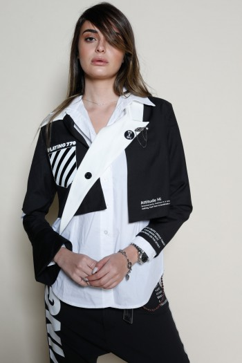 Black And White Designed Crop  Jacket FUTURE