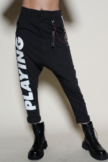 Designed Black  Baggy Pants  ADDICTED