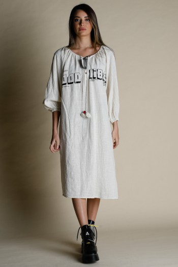 Beige Linen Midi Dress VIBES