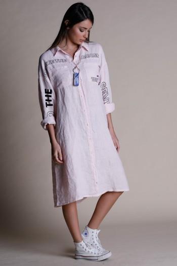 Pink Button Linen Midi Dress DRAMA