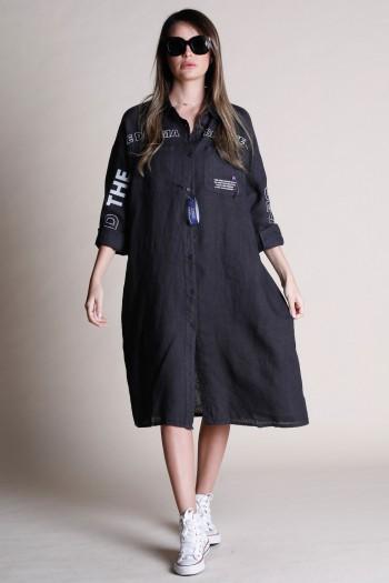 Black Button Linen Midi Dress DRAMA