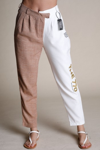 Designed Brown And White Elegant Cut Pants THE 770