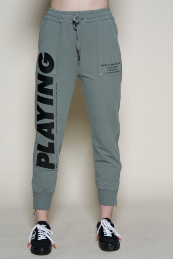 Olive Green Designed Zipper Joggers PLAYING