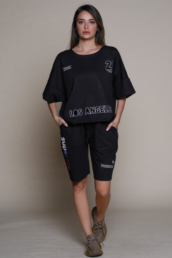 Black Color Two Pullover Short Piece Set LA