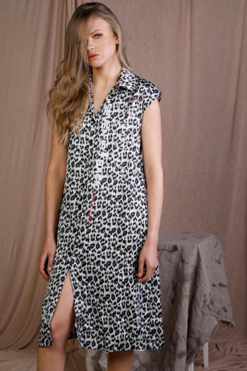 Black And White Leopard Print Satin Midi Dress BACK