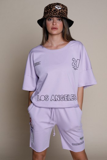 Light Purple Color Two Pullover Short Piece Set LA