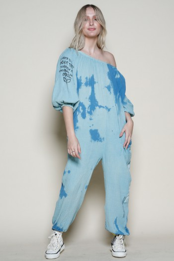Blue Shades Tie Dye Long Sleeve Overall NO ONE