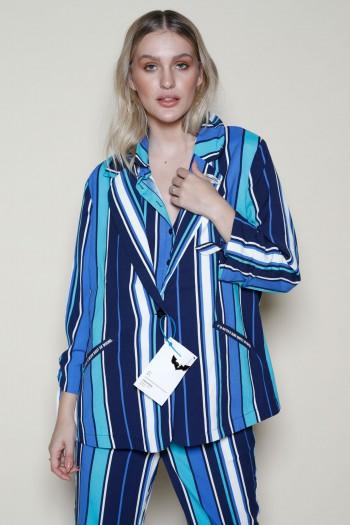 Blue Colors Stripe  Long Sleeve  Blazer Jacket ADDICTED