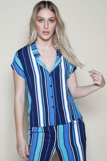Blue Stripe Colors Two Piece Set ATTITUDE