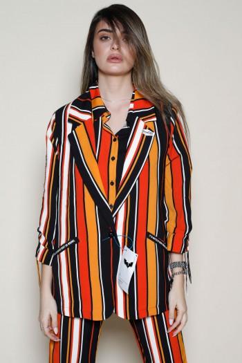 Orange  Colors Stripe  Long Sleeve  Blazer Jacket ADDICTED