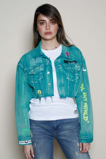 Turquoise Green Washed Denim Jacket HAND MADE