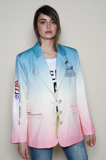 Pink And Light Blue Colors Long Sleeve  Blazer Jacket SUPER
