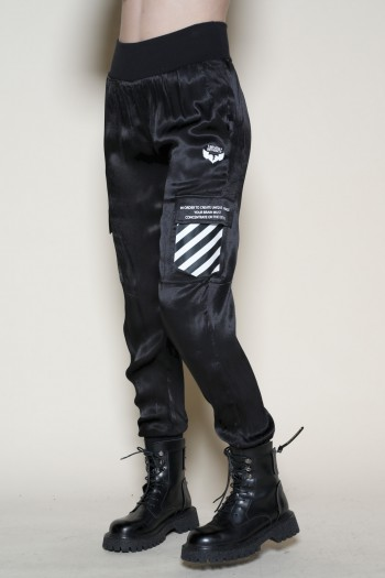 Black  Satin Designed  Pants WRONG
