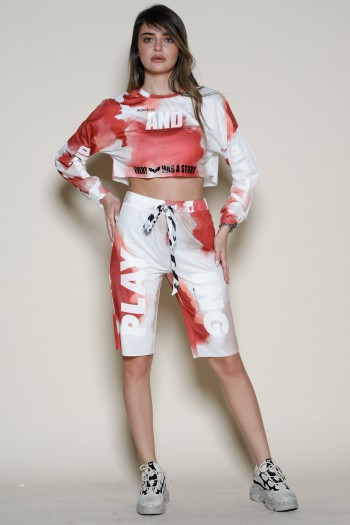 Copper Brown  And White Tie Dye Two Piece Set PLAY
