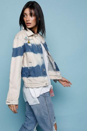Denim Jacket Beige And Blue  Ombre Pattern PLASTIC