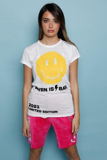 White  Designed  T Shirt SMILE
