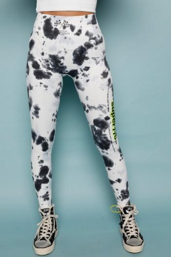 Designed Black And White Thai Dye Leggings Pants SUPER