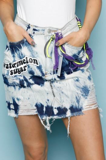 Blue Denim Thai Dye Colors   Mini Skirt  WATERMELON