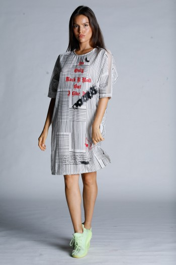Black And White Designed Midi Dress ROCK