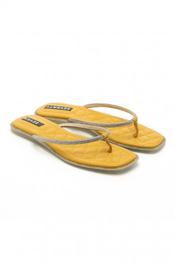 Yellow Rhinestones Flip-Flop SEVEN SHINE