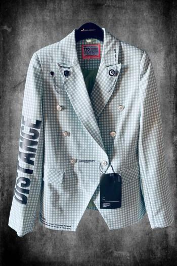 Green and White Plaid Blazer Jacket SOCIAL